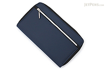 Raymay Double Zipper Multi-Use Covered Notebook - A5 Slim - Navy - RAYMAY CN193 K