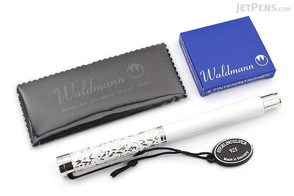 Waldmann Xetra Vienna Fountain Pen - White - Medium Nib - WALDMANN 0040