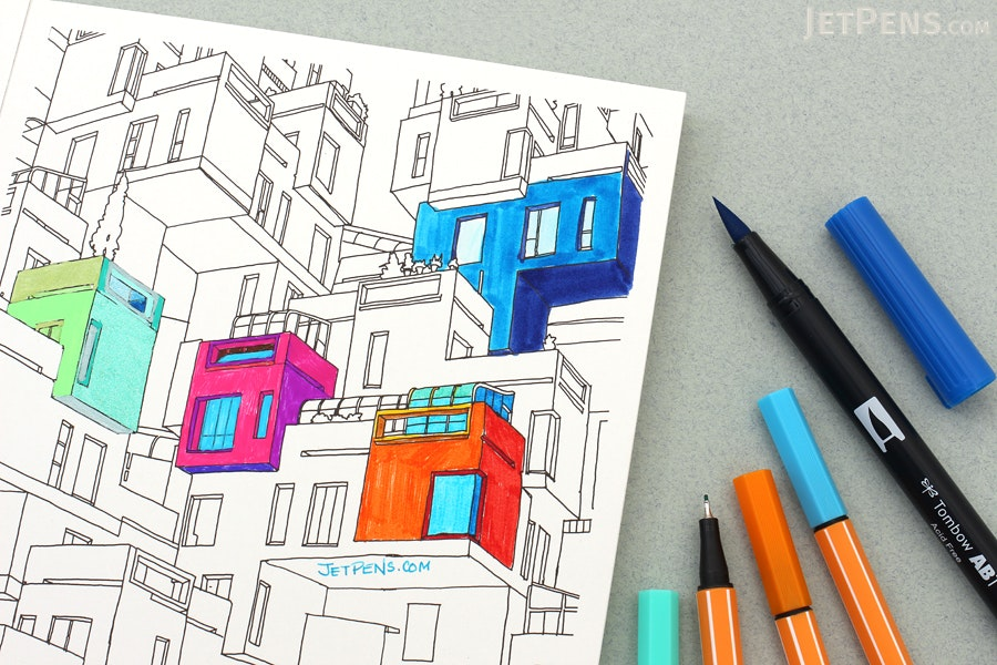 Fantastic Cities 20 Postcards To Color