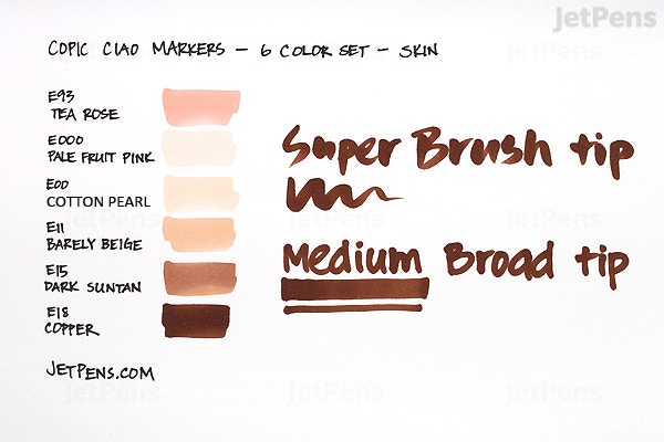 Jetpens Com Copic Ciao Marker 6 Color Set Skin