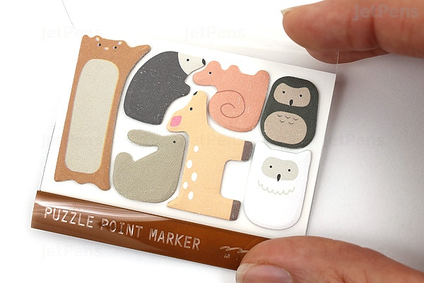 c324a0aaf3eb ... Midori Puzzle Point Marker Adhesive Notes - Forest Animals - MIDORI  11724006 ...