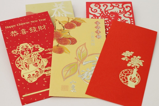 chinese red envelopes featuring different designs and even different colors - Chinese New Year 2005