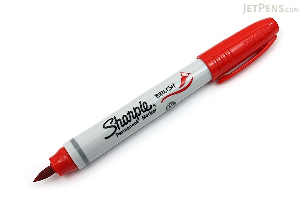 Sharpie Brush Tip Permanent Marker - Red - JetPens.com