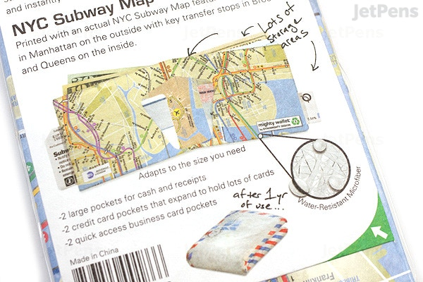 Nyc Subway Map On Business Card.Jetpens Com Dynomighty Mighty Wallet Nyc Subway Map