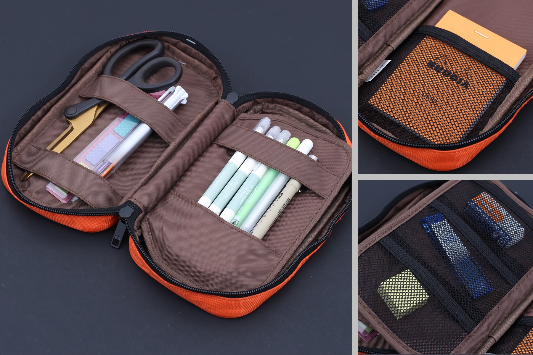 8fbded19973e This pen case is incredibly versatile—it has five main compartments of  various sizes and the ability to carry 17-24 pens. It s shaped like a  medium-sized ...