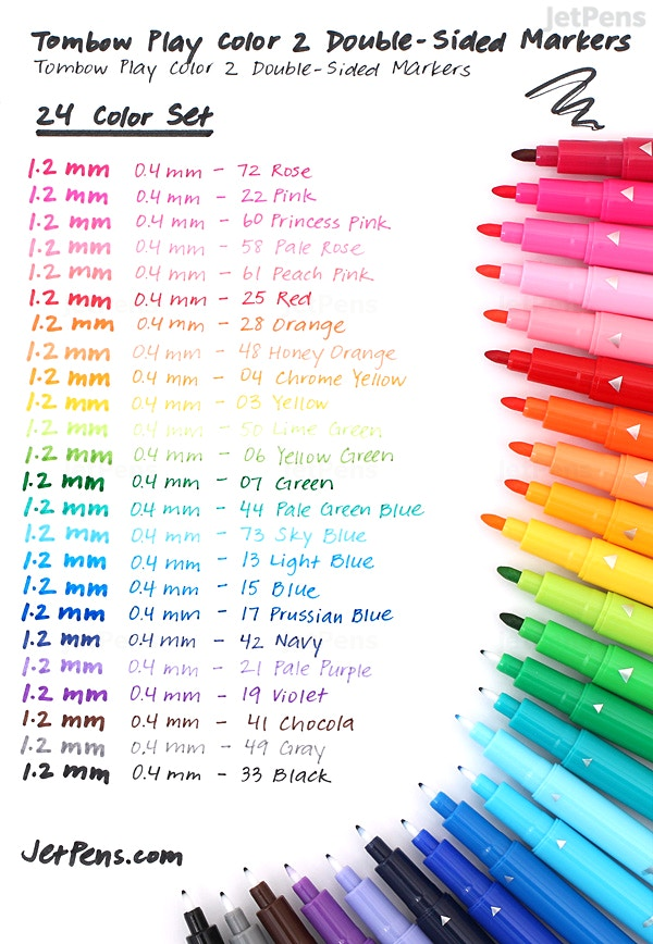 Tombow Play Color 2 Double Sided Marker 04 Mm 12 Mm 24 Color