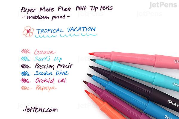 paper mate flair felt tip pen medium point tropical vacation 6