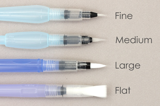 fcd8564458bc Water brushes come in a few basic sizes. Fine