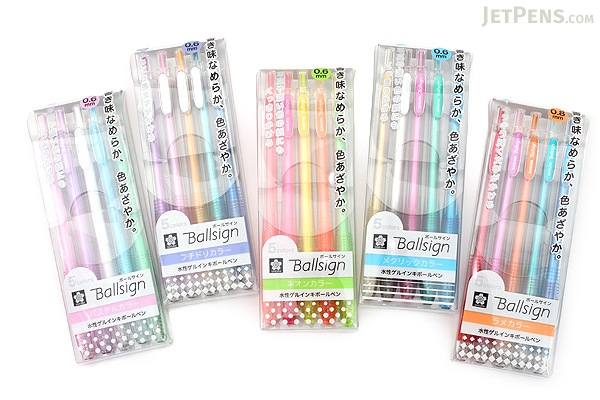 Sakura Ballsign Knock Gel Pen - 0.6 mm - Fuchidori - 5 Color Set ...