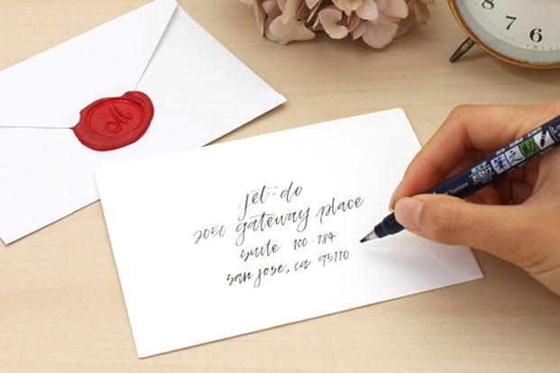 Using A Brush Pen To Address Envelopes