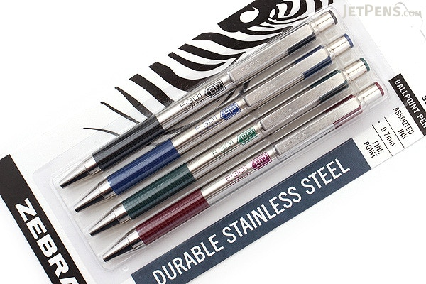 ... Zebra F-301 Stainless Steel Retractable Ballpoint Pen - 0.7 mm - 4  Color Set ...