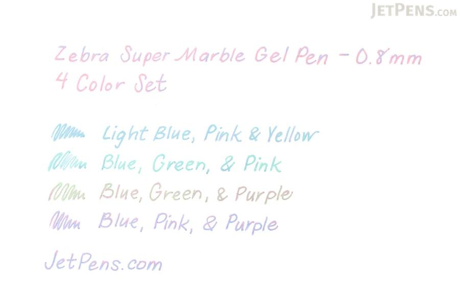 Zebra Super Marble Gel Pen 0 8 Mm 4 Color Set