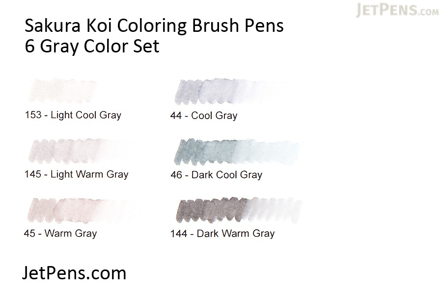 Sakura Koi Coloring Brush Pen - 6 Gray Color Set - JetPens.com