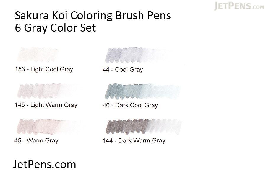 sakura koi coloring brush pen 6 gray color set sakura xbr 6sa