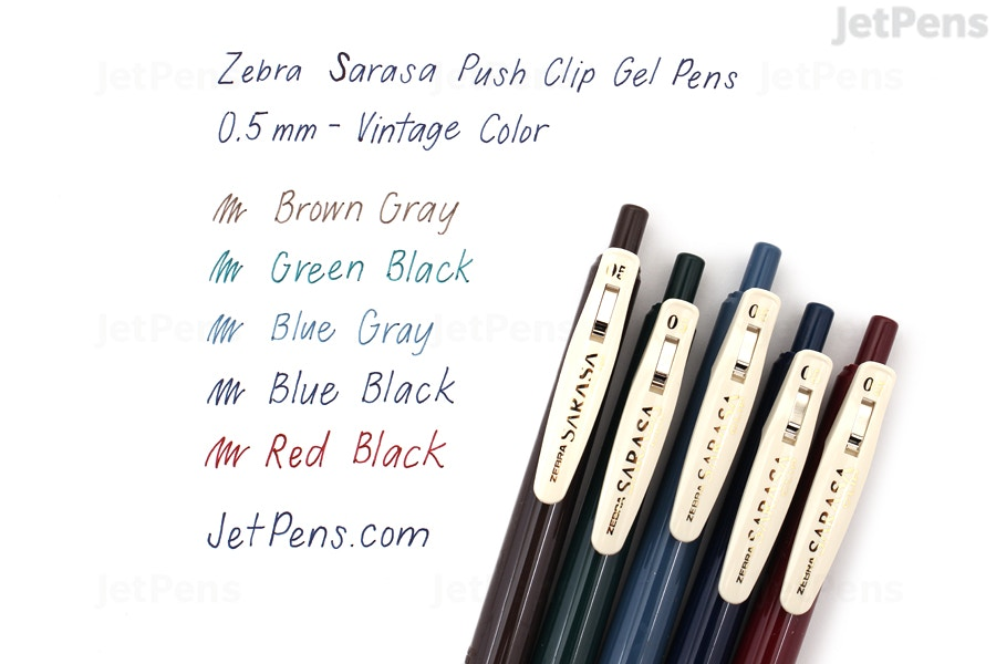 ed290433a96b Zebra Sarasa Push Clip Gel Pen - 0.5 mm - Vintage Color - Red Black |  JetPens