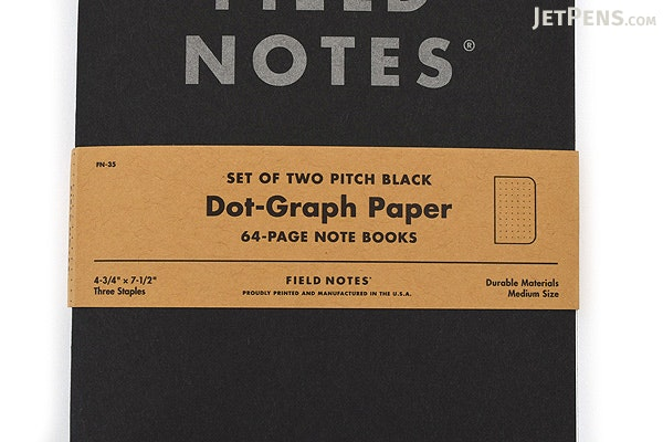 Field Notes Pitch Black Note Books 75 x 475 64 Pages Dot – Field Note