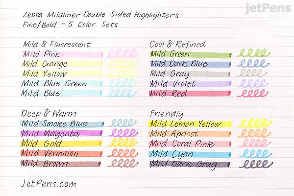 JetPens com - Zebra Mildliner Double-Sided Highlighter - Fine / Bold - 5  Friendly Color Bundle