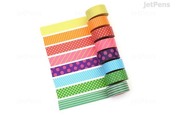 mark s maste washi tape basic colorfully colorful pattern mix pack of 8