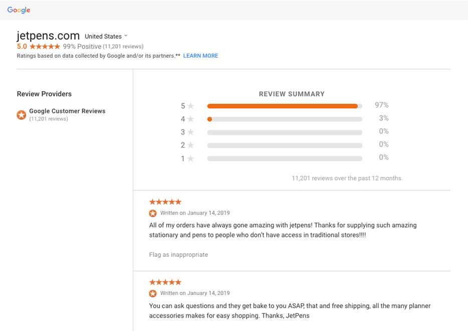 c4ff74efe3 JetPens customer reviews collected by Google.