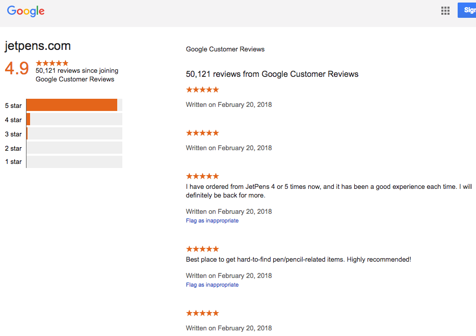 JetPens Customer Reviews Collected By Google A Vastly Superior Seller Of Stationery Supplies That You Can