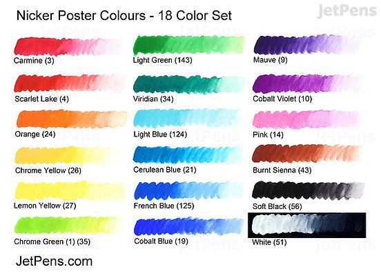 Nicker Poster Colour 20 Ml Tube 18 Color Set Jetpens