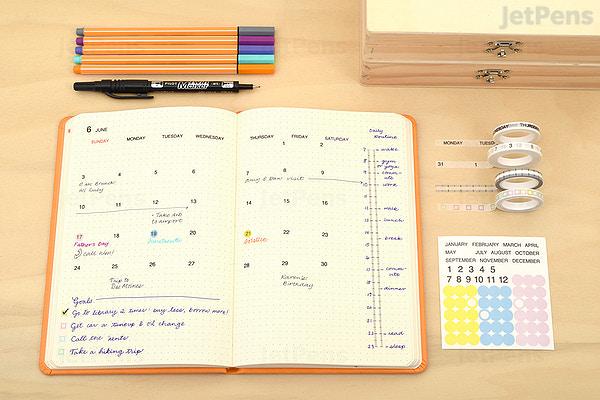 pine book free diary washi tape set calendar a5 basic jetpens com