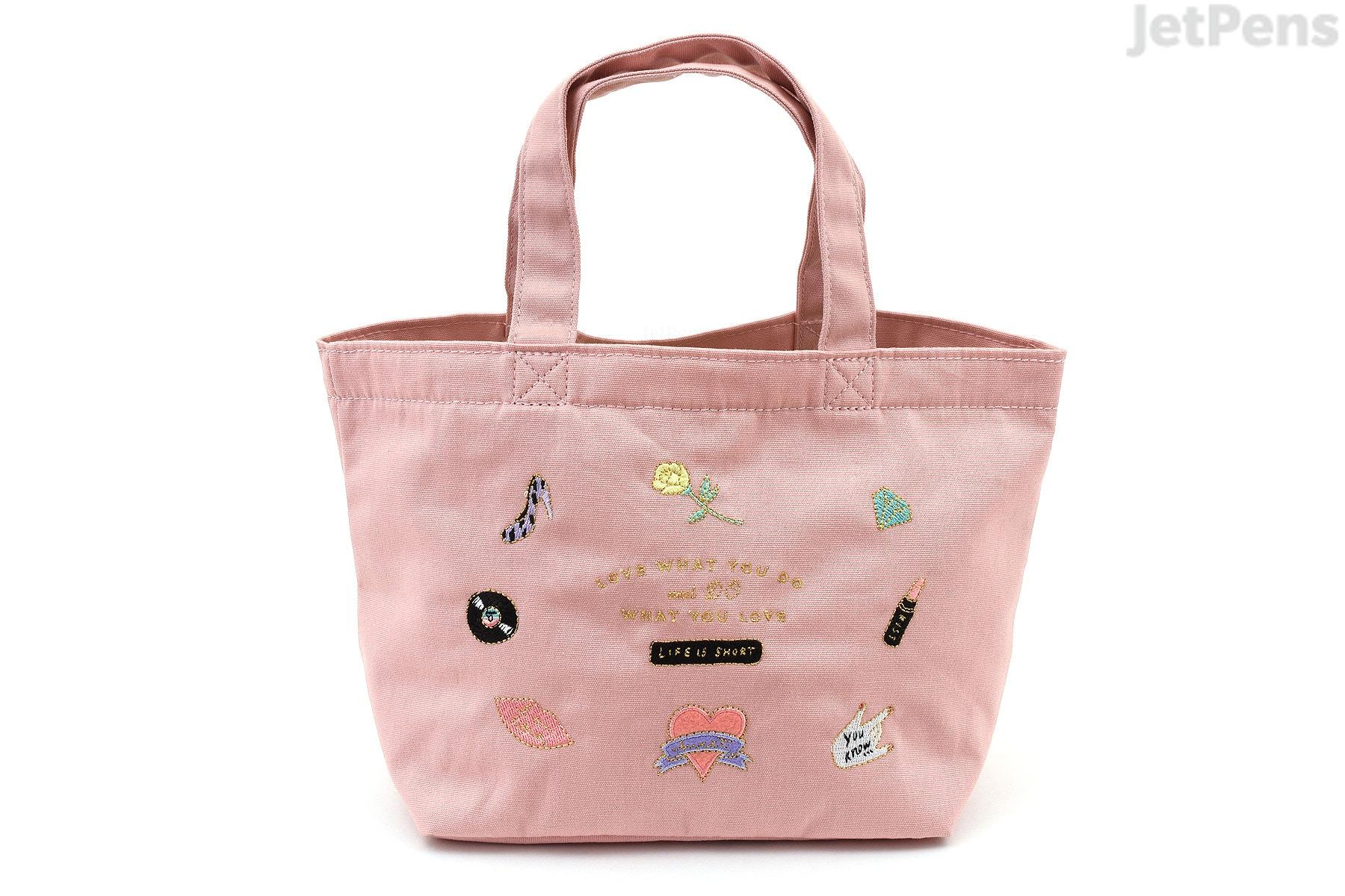 Mark\'s Zakka Collection Mini Tote - Icon Embroidery - Pink - JetPens.com