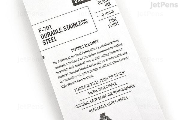 JetPens com - Zebra F-701 Stainless Steel Body Retractable Ballpoint Pen -  0 8 mm - Silver Body - Black Ink