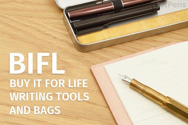 Koop het voor het leven: schrijfgerei en tassen